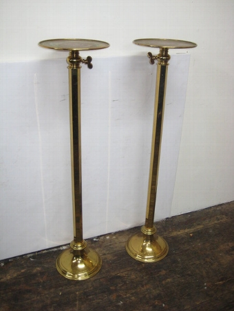 Antique Pair of Lacquered Brass Telescope Stands