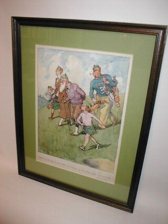 Antique Framed Golfing Watercolour by Frank Reynolds