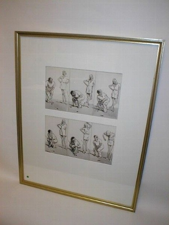Antique Framed Golfing Cartoon Montage by Frank Reynolds