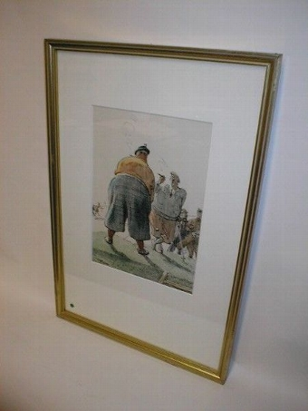 Antique Framed Colour Golfing Sketch by Frank Reynolds