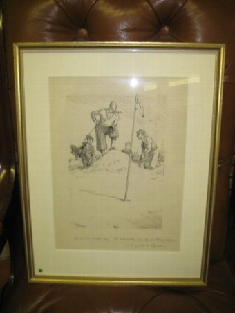 Antique Framed Golfing Sketch by Frank Reynolds