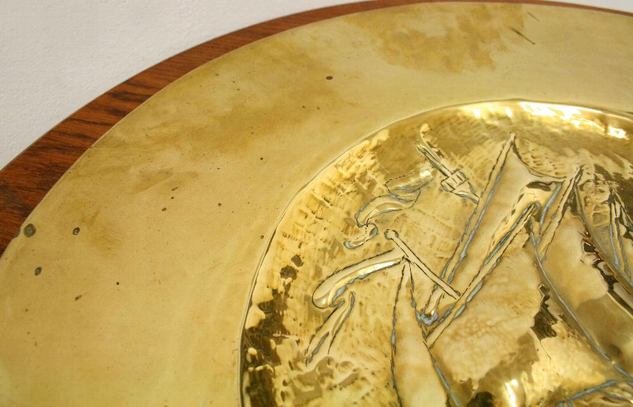 Antique Arts & Crafts Brass Dish/Wall Plaque