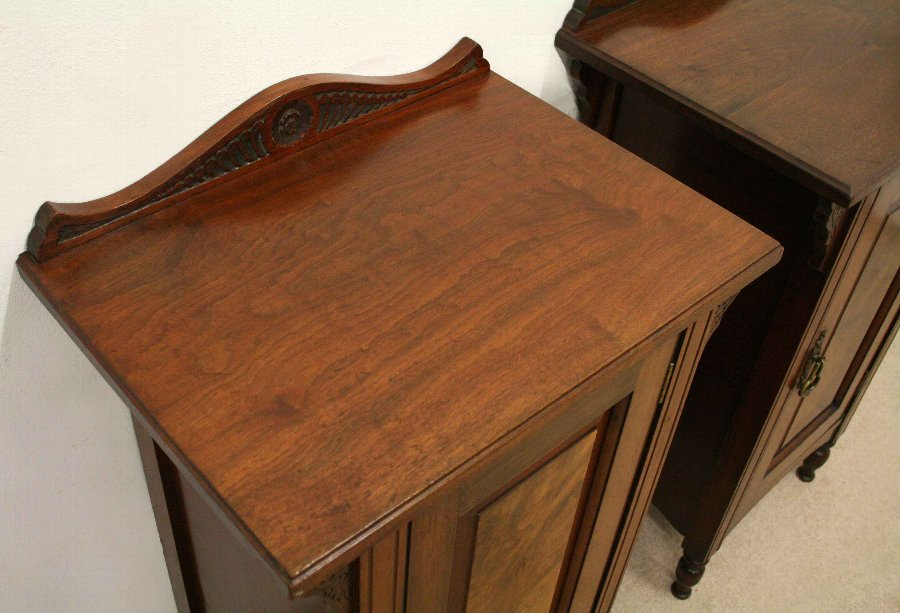 Antique Pair of Late Victorian Walnut Bedside Lockers