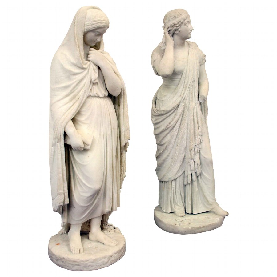 Pair of Victorian Marble Figures