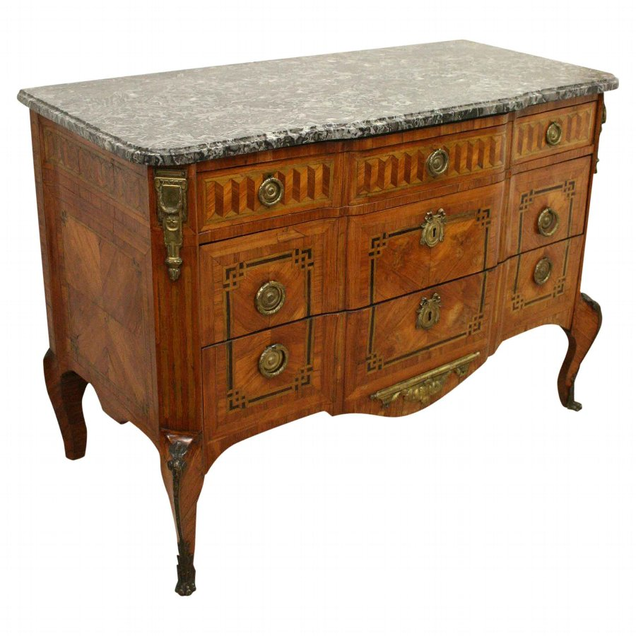 French Marble Top Walnut Commode