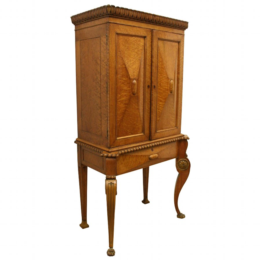 Late Victorian Birds Eye Maple Cabinet on Stand