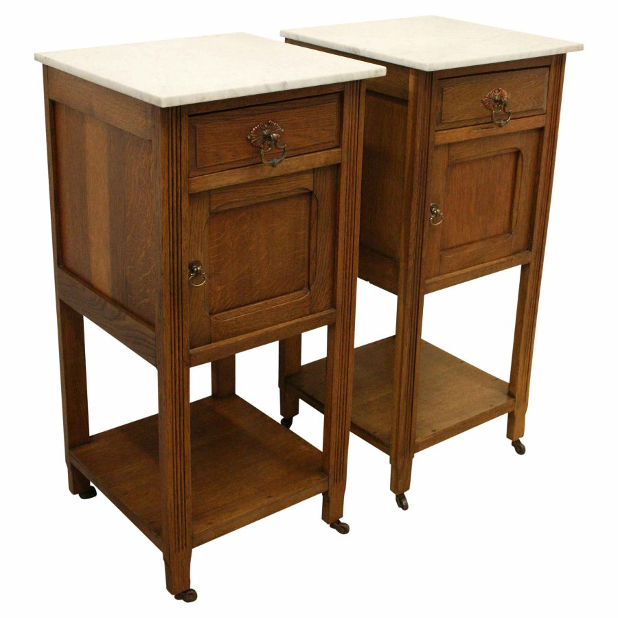 Pair of Oak Marble Top Bedside Cabinets