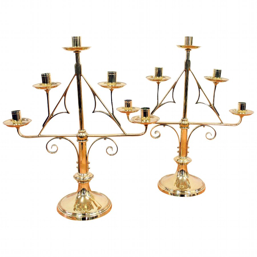 Pair of Gothic Brass Candlesticks