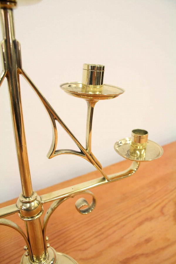 Antique Pair of Gothic Brass Candlesticks