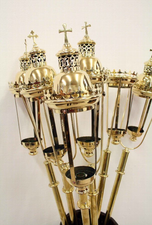 Antique Set of 6 Brass Processional Candle Holders