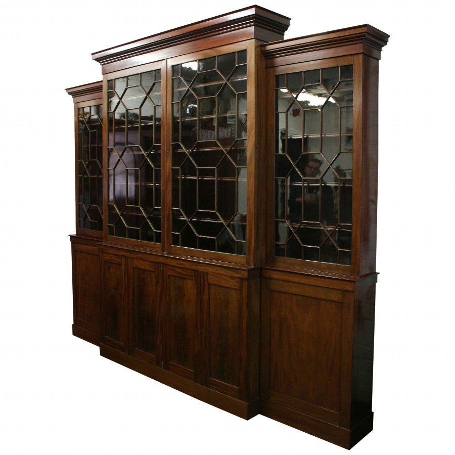 George III Style Four Door Cabinet Bookcase