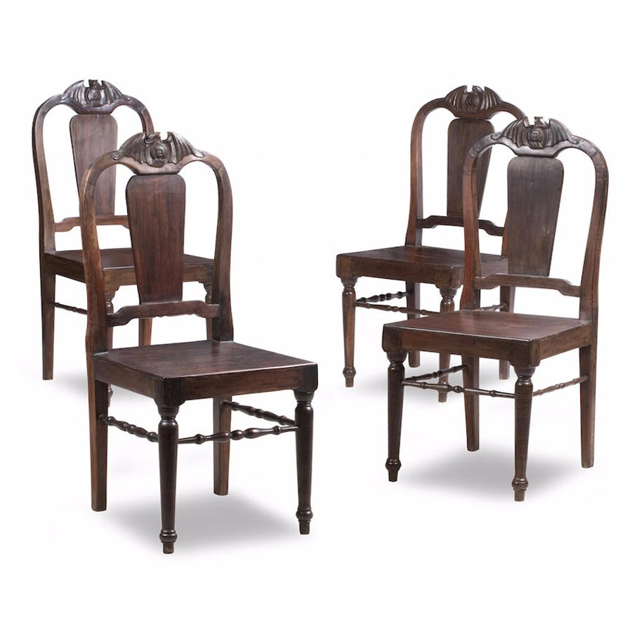 Antique Set of 4 Chinese Tielimu Chairs