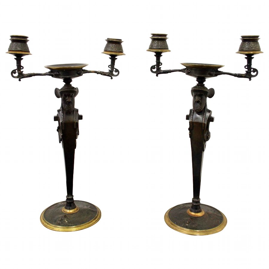 Pair of Bronze and Gilt Candlesticks