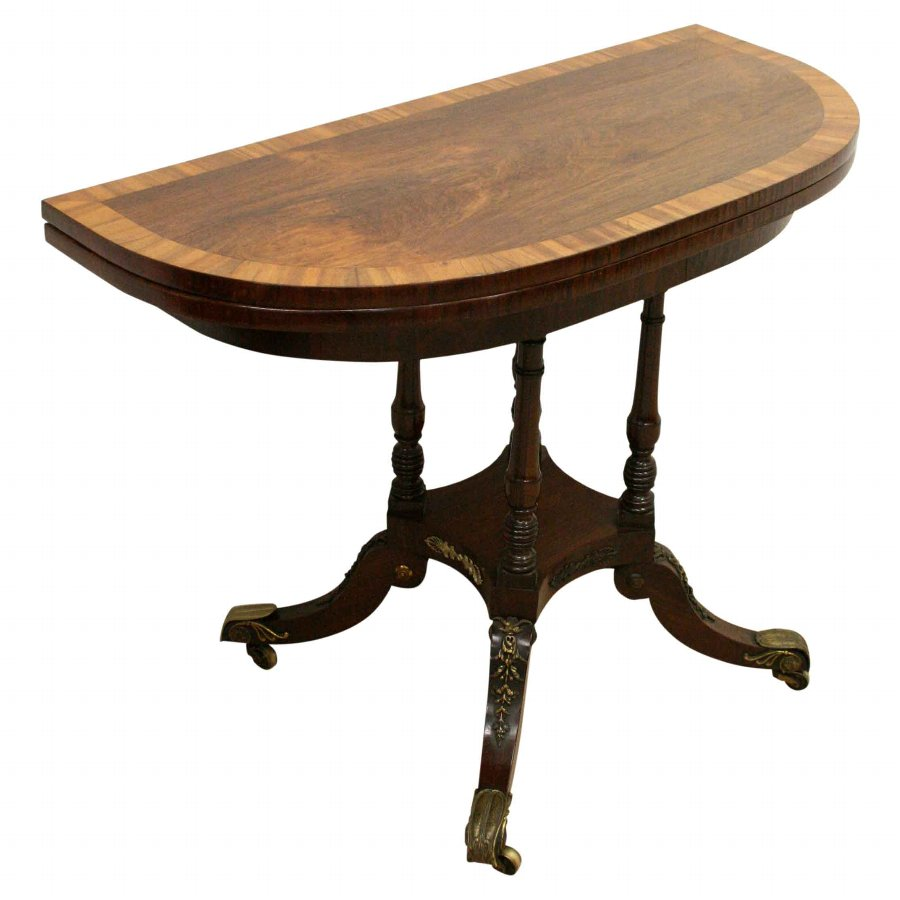 Regency Demi Lune Rosewood Tea Table