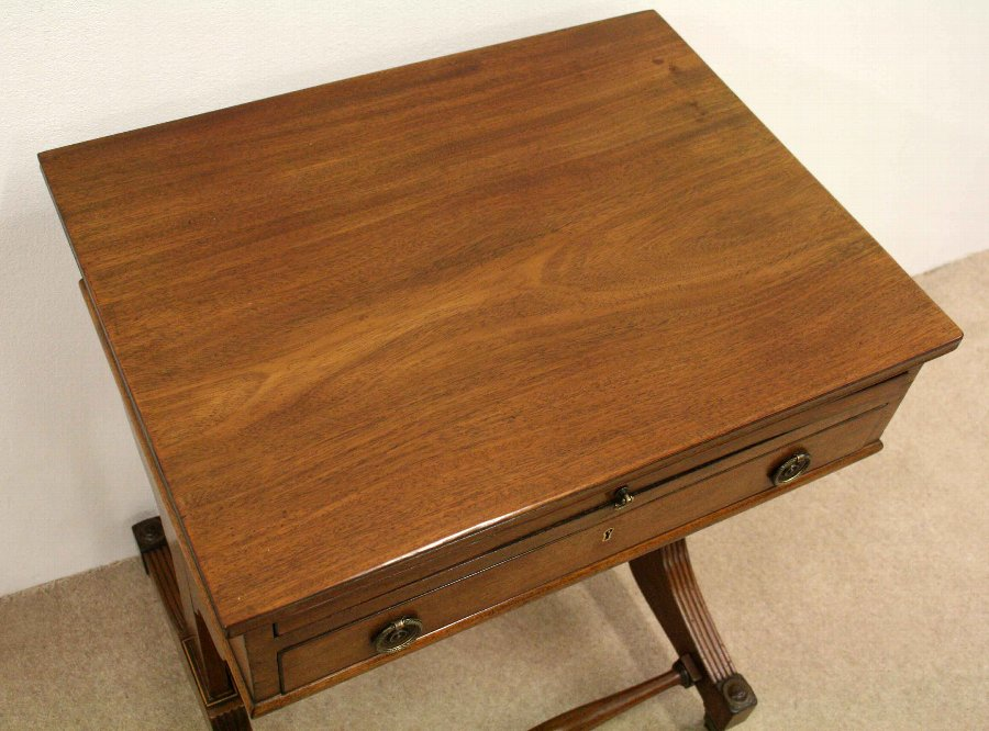 Antique George IV Mahogany Writing Table/Work Box