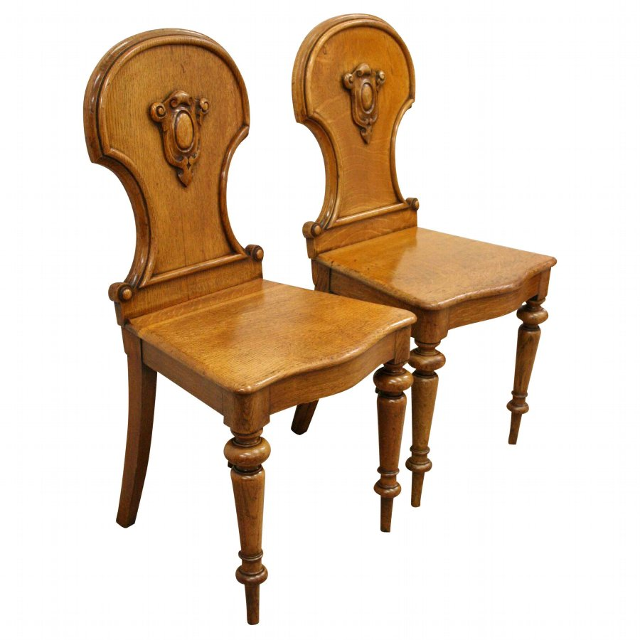 Pair of Victorian Oak Hall Chairs