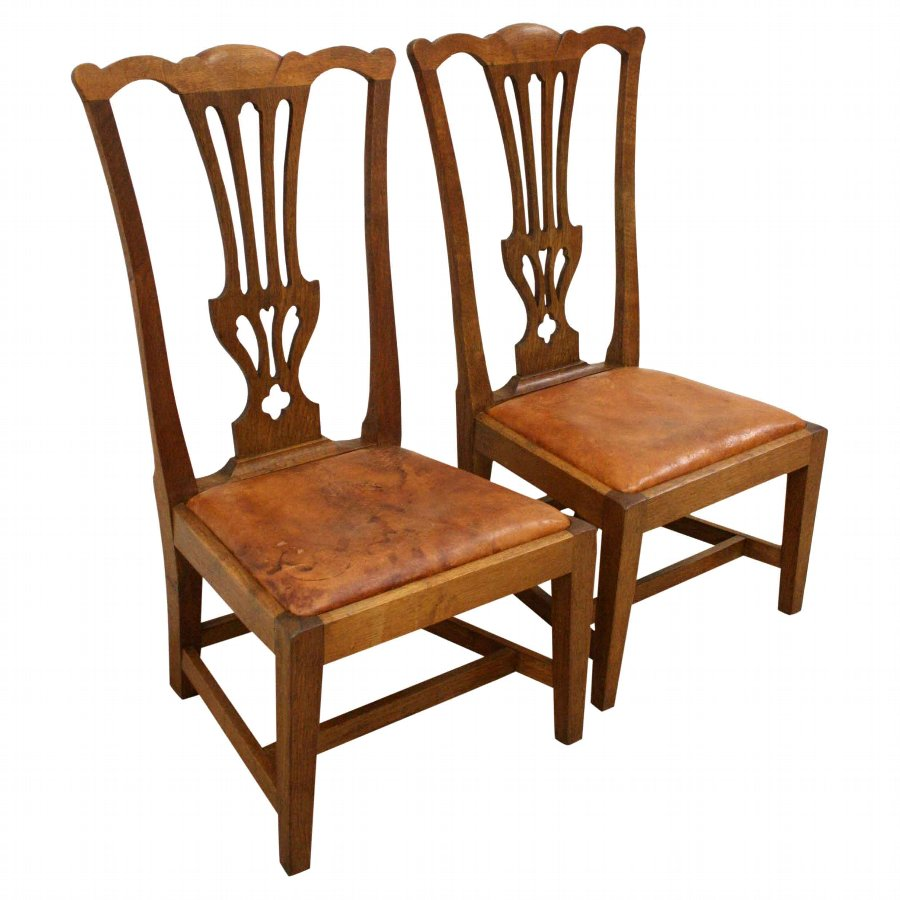 Pair of Oak Wheeler Gossip Chairs