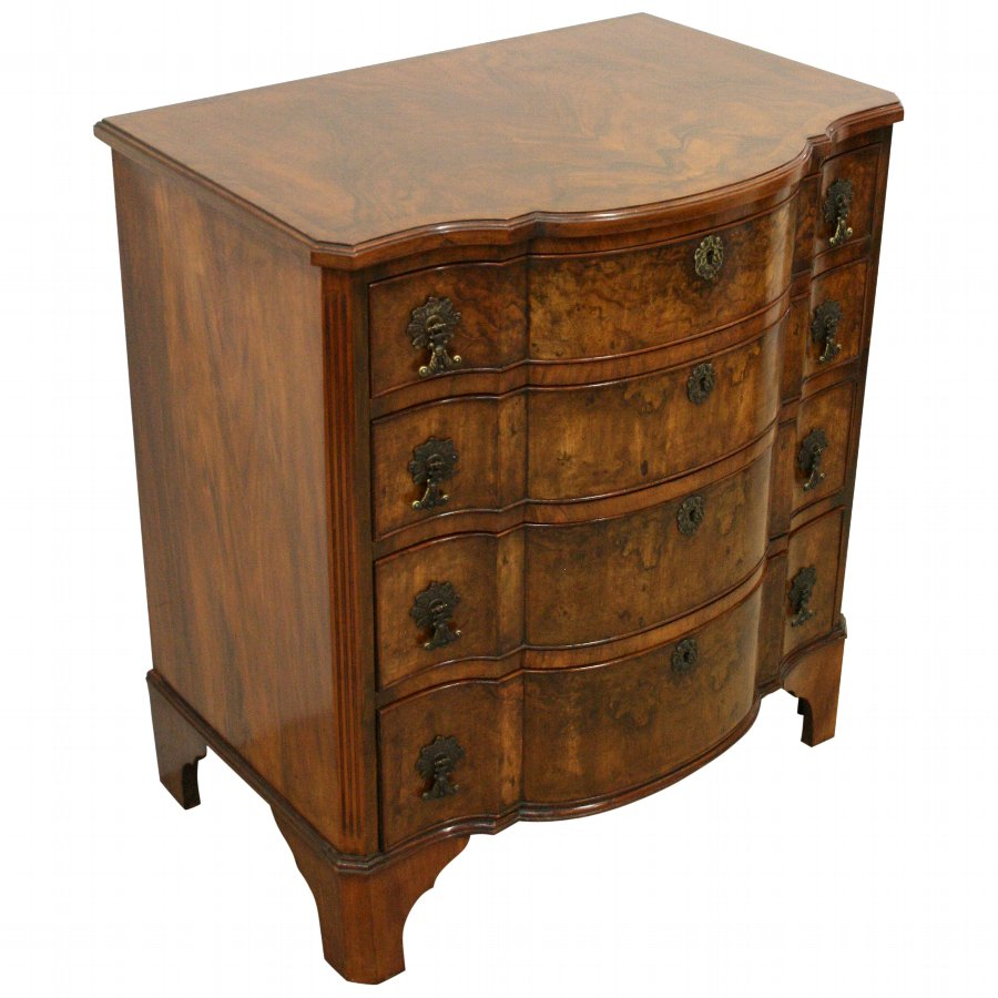 Georgian Style Walnut Block Front Chest of Drawers