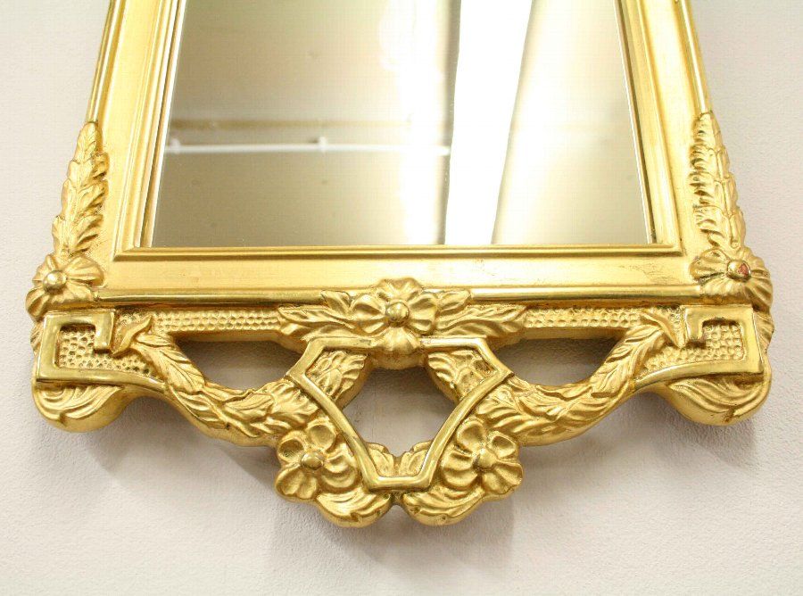 Antique Swedish Carved Gesso and Gilded Wall Mirror