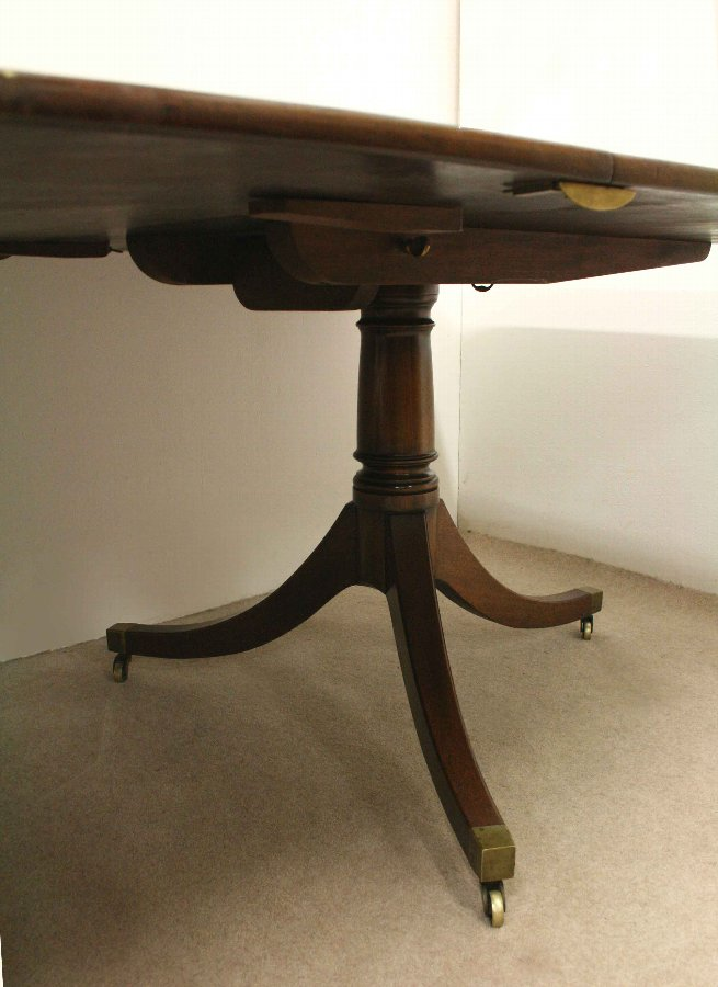 Antique Regency Style Twin Pillar Dining Table