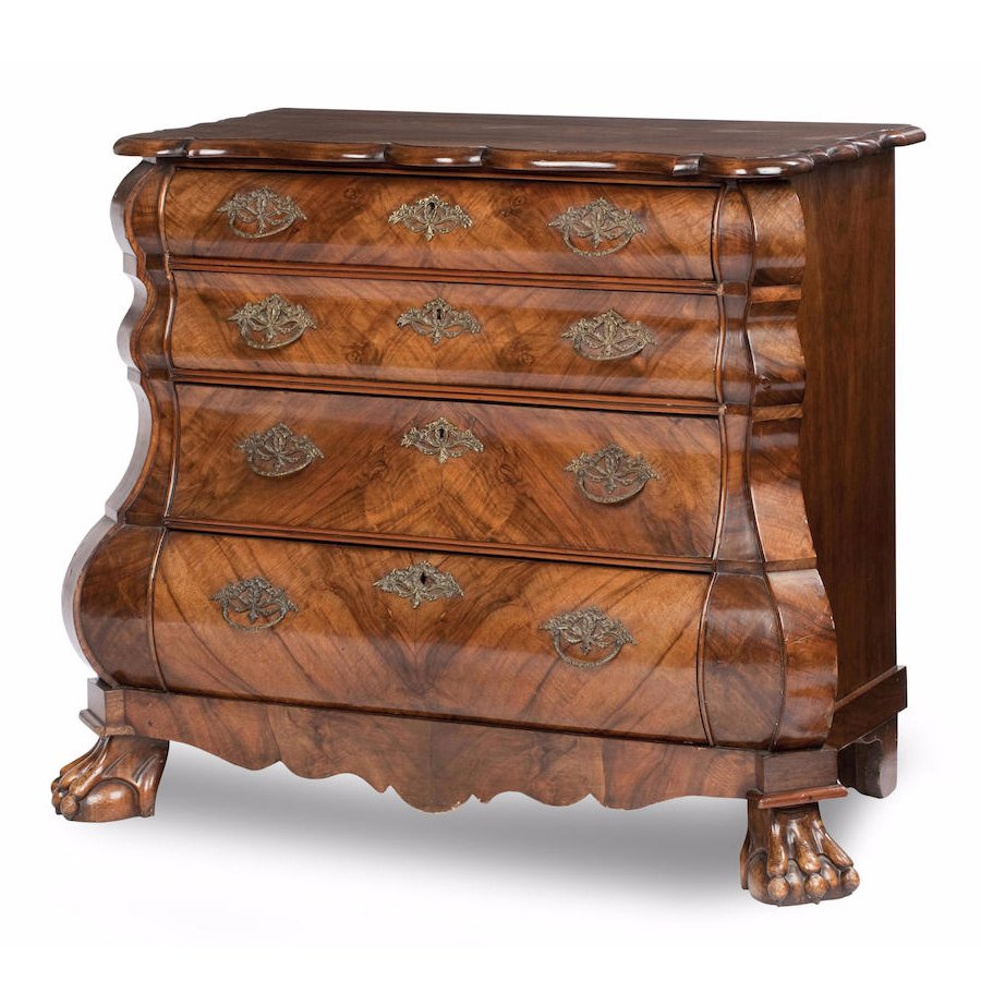 Dutch Walnut Bombé Chest of Drawers