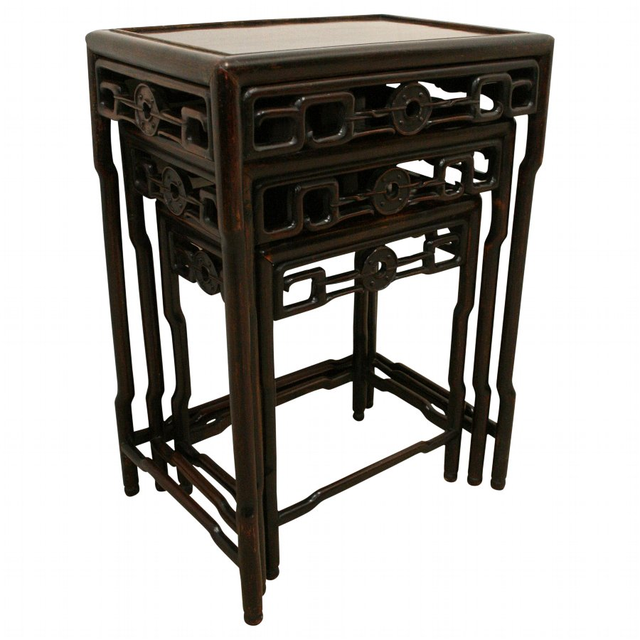 Antique Chinese Nest of Hardwood Tables