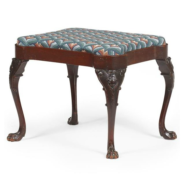 George III Style Serpentine Mahogany Foot Stool