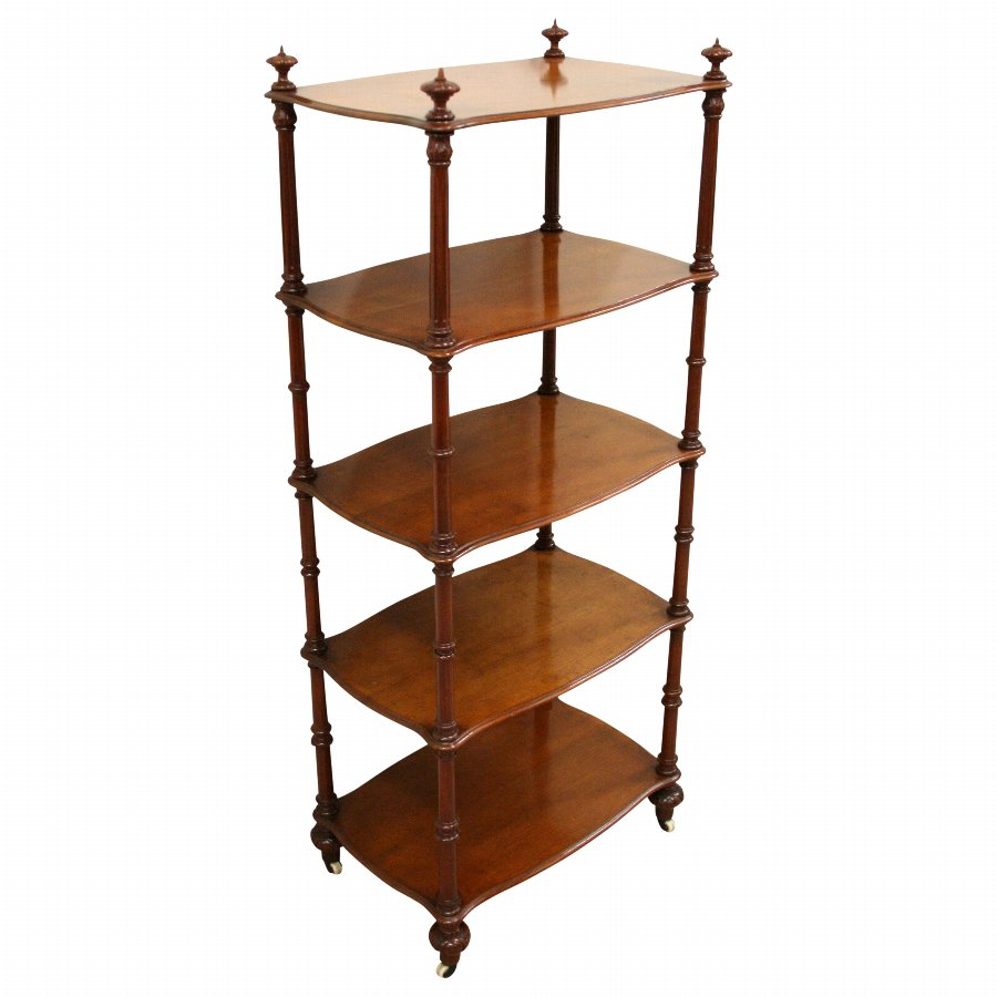 Mid Victorian Five Tier Mahogany Whatnot