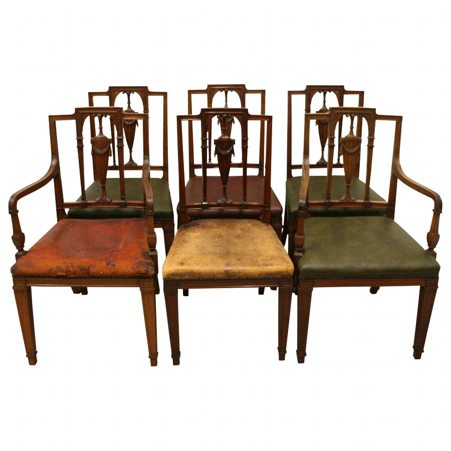 Set of 6 Adams Style Mahogany Dining Chairs