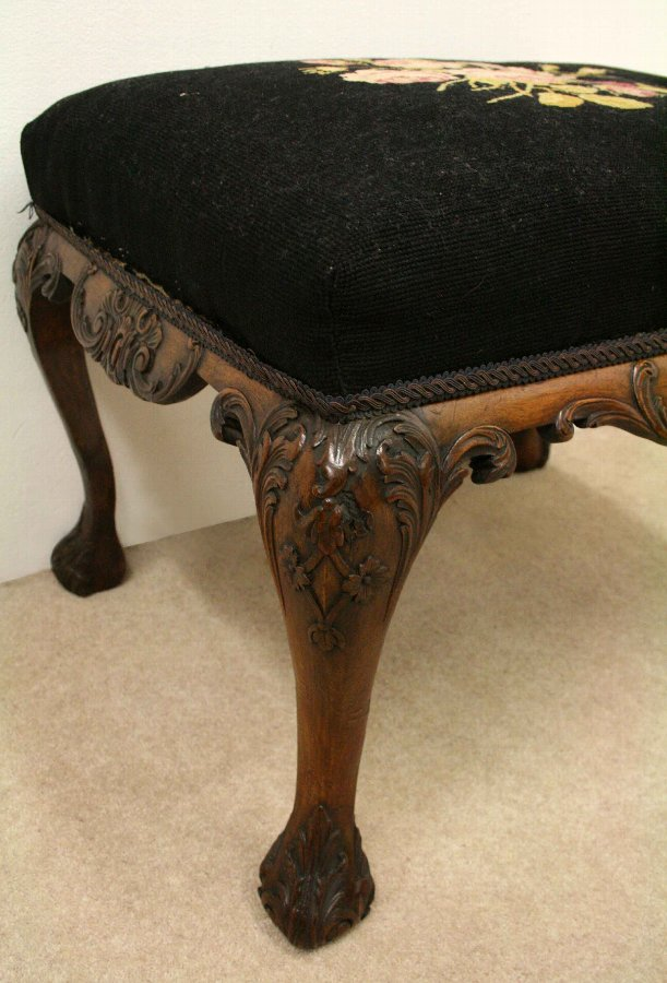 Antique George II Style Carved Stool