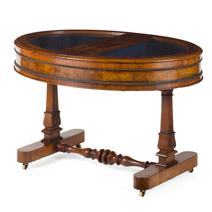 Burr Walnut Display Table/Bijouterie Table