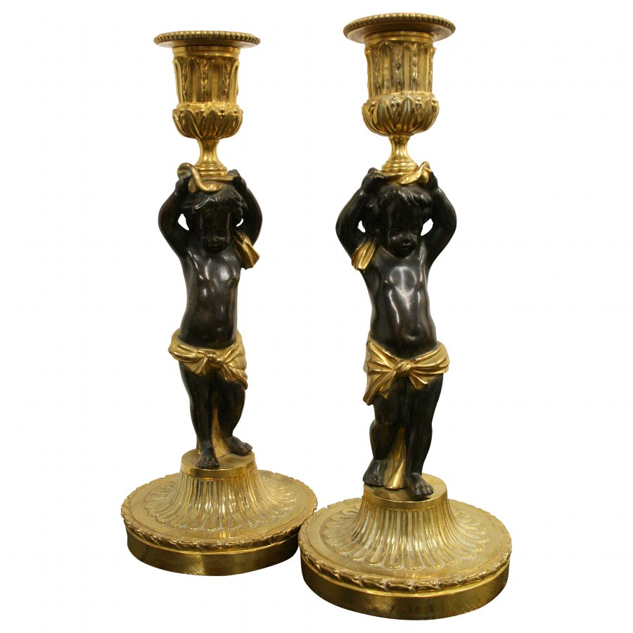 Pair of French Bronze and Ormolu Candlesticks