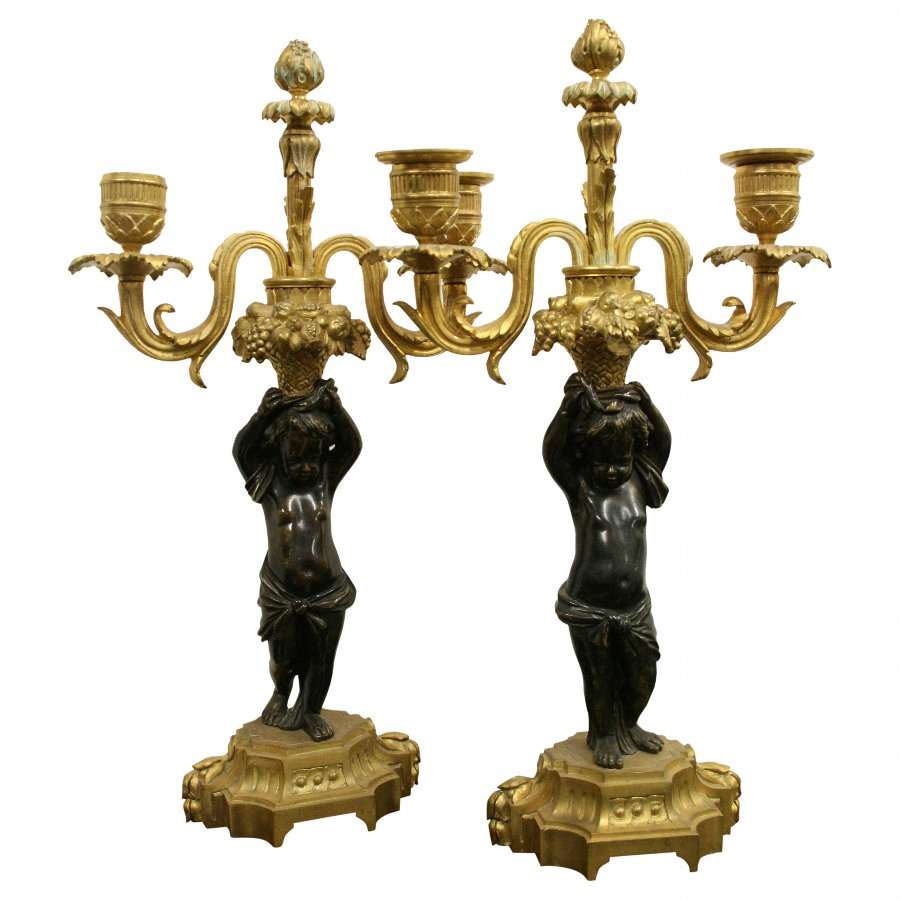 Pair of Bronze and Ormolu Candelabra