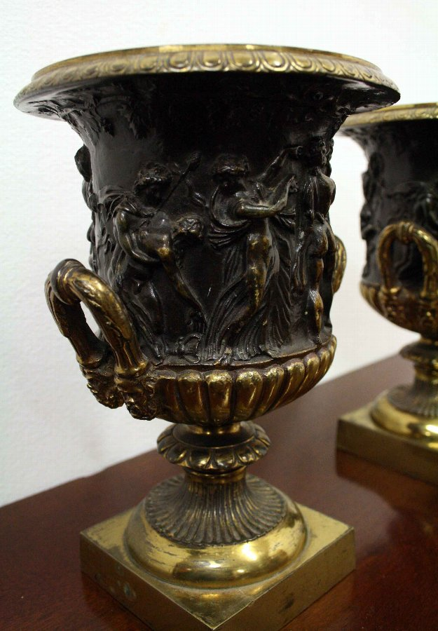 Antique Pair of Brass and Bronze Side Urns