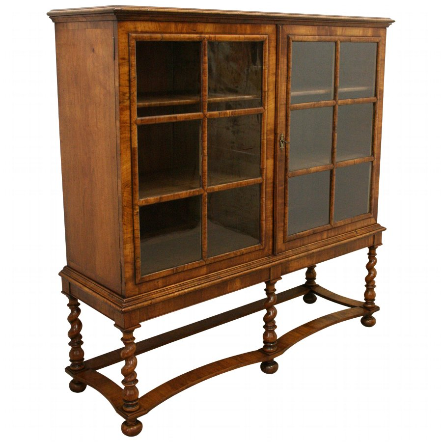 William & Mary Style Figured Walnut Display Cabinet