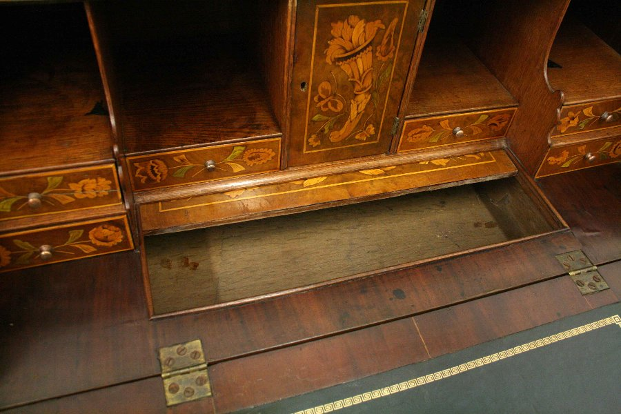 Antique Dutch Marquetry Bombé Bureau