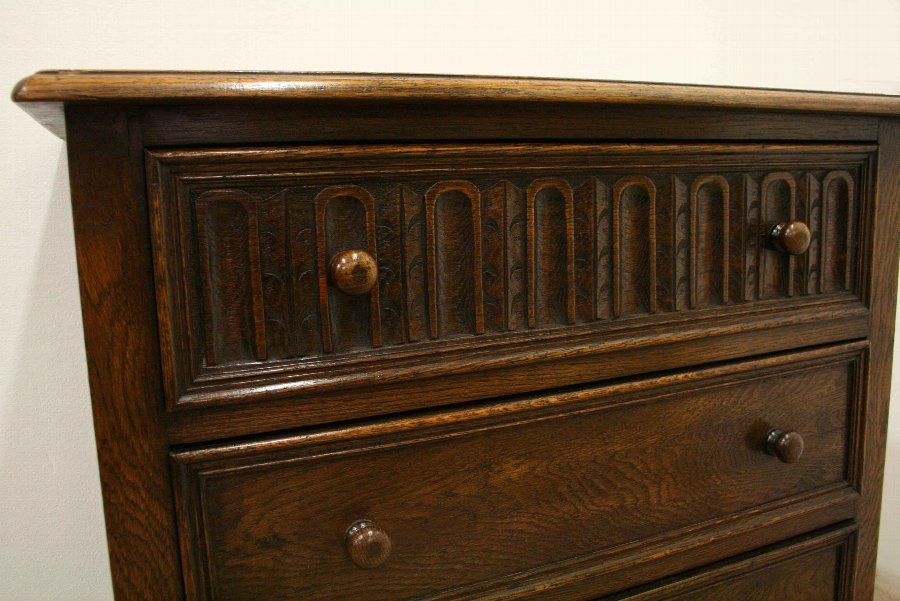 Antique Jacobean Style Oak Chest of Drawers