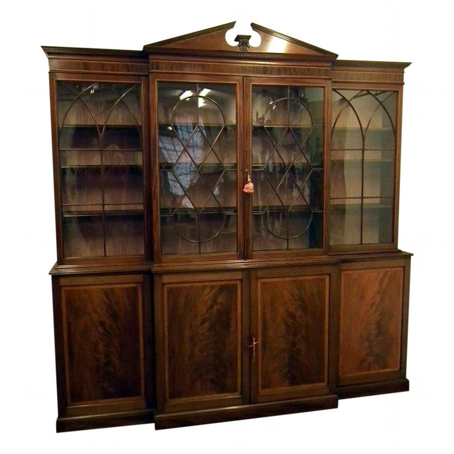 Antique George Iii Mahogany Inlaid Cabinet Bookcase