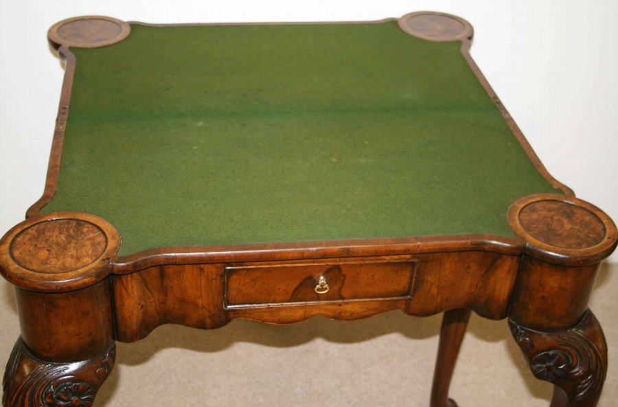 Antique George II Style Burr Walnut Games Table