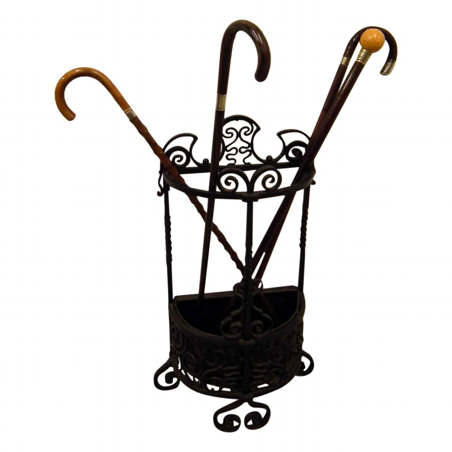 Wrought Iron Demi Lune Stick Stand