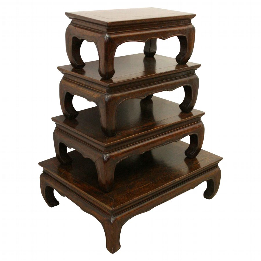 Set of 4 Chinese Hardwood Occasional Tables