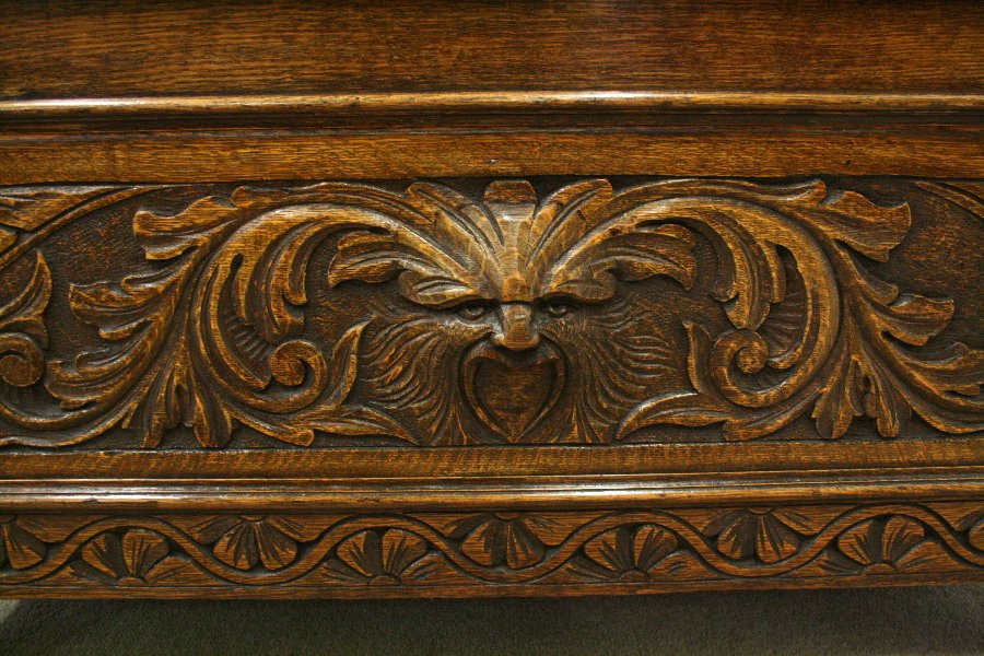 Antique Carved Oak Monk's Bench