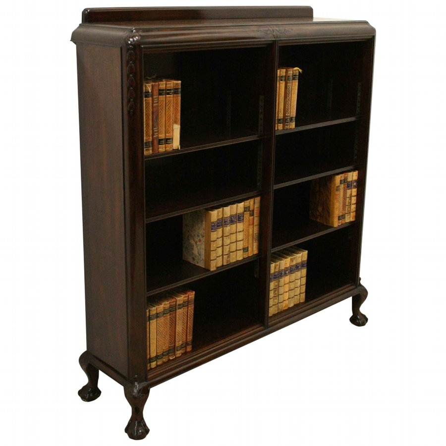 Scottish Carved Mahogany Open Bookcase