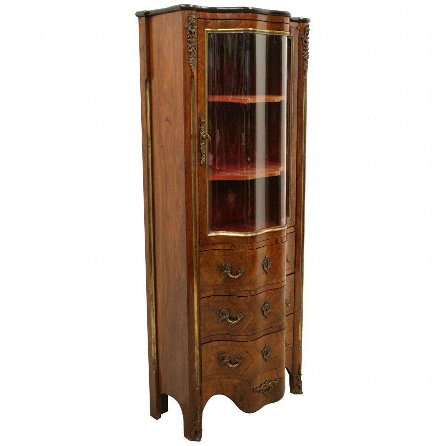 French Rosewood Serpentine Display Cabinet