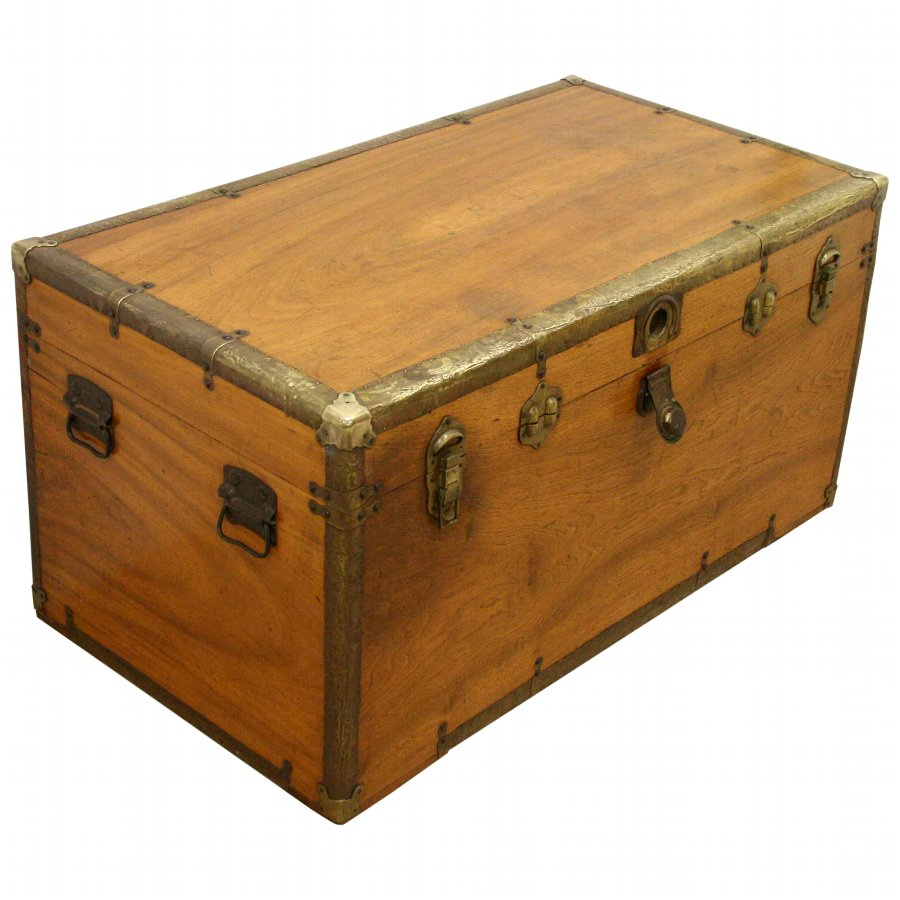 Late Victorian Camphor Wood Travelling Trunk