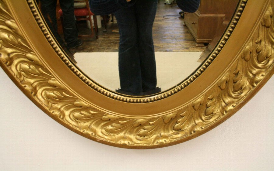 Antique Gilded Oval Wall Mirror