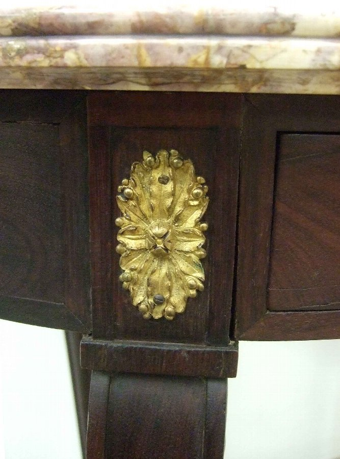 Antique French Marble Topped Mahogany Occasional Table