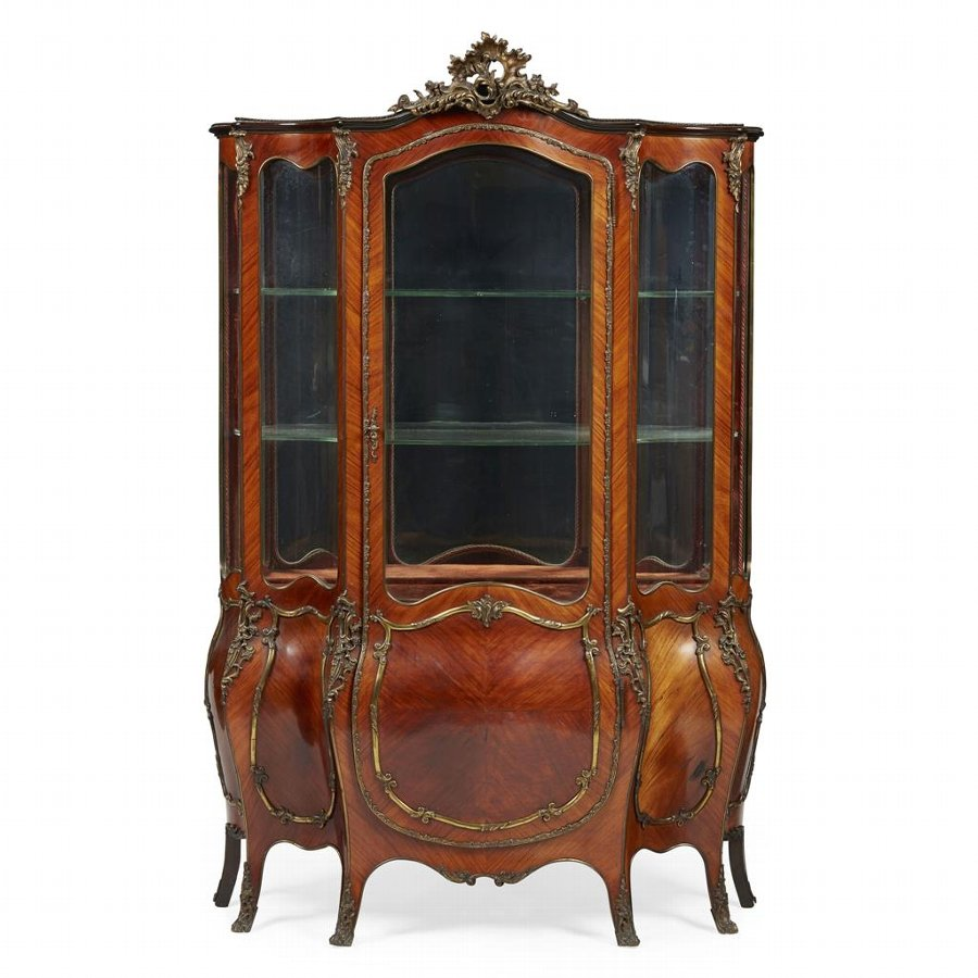 French Kingwood Bombe Display Cabinet