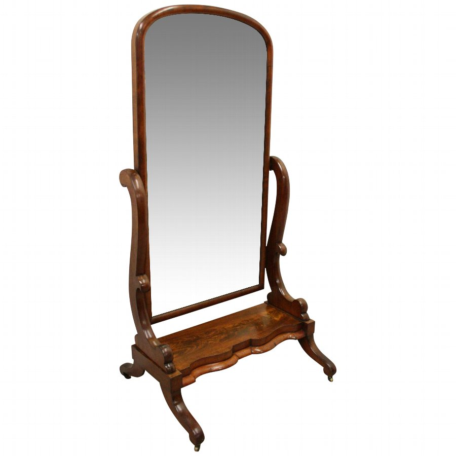Antique Victorian Mahogany Cheval Mirror