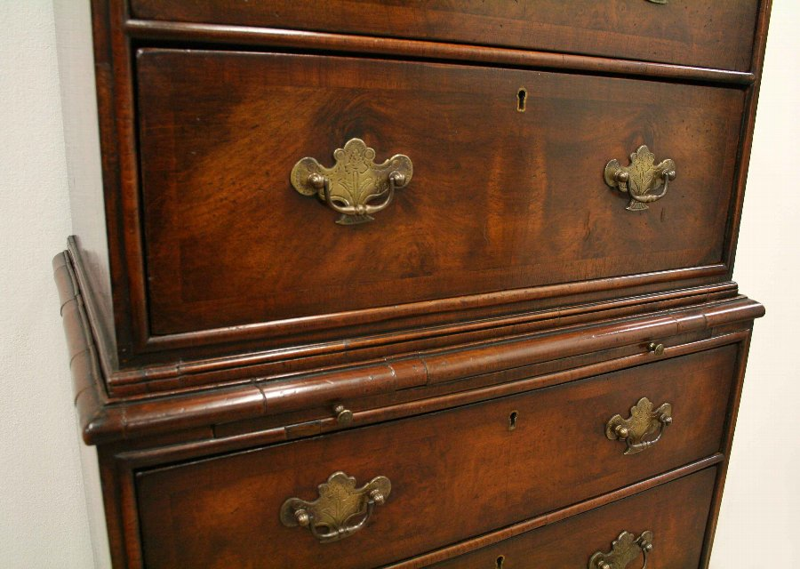 Antique George I Style Burr Walnut Chest on Chest